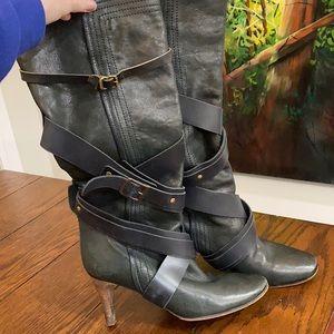 Chloe kitten heel calf high slouchy boots